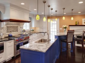 Bright kitchen with blue kitchen island
