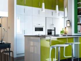 Small kitchen white green
