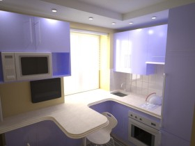 Small bright kitchen in the style of hi-tech
