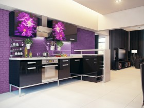 Purple kitchen colors with black furniture