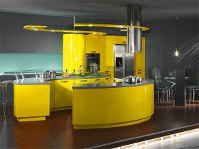Dark kitchen with bright yellow furniture