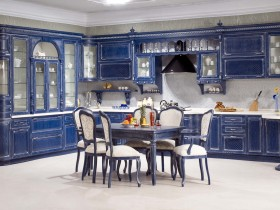 Bright blue large kitchen
