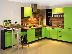 Bright green kitchen