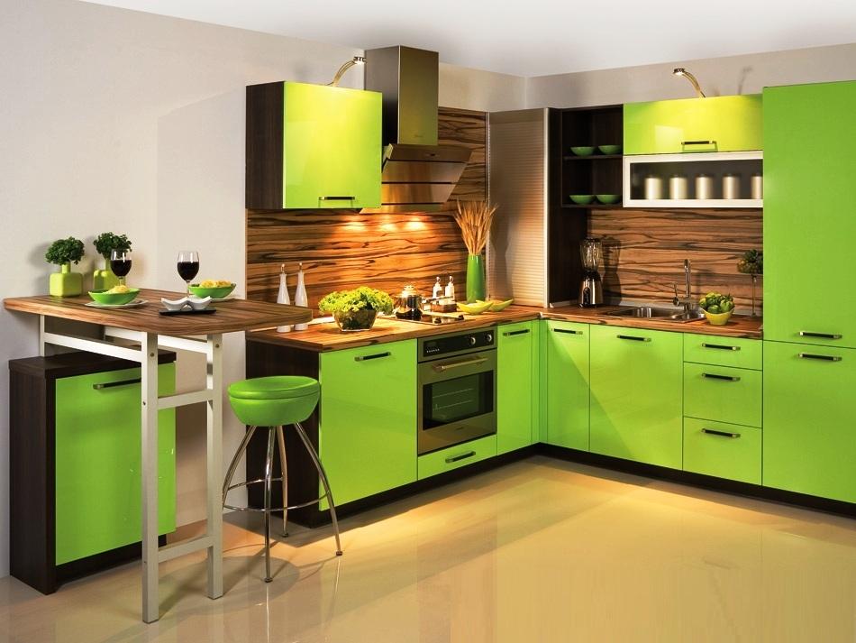 Какие обои сочетаются с зеленой кухней