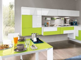 The interiors are bright modern kitchen