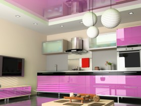 Modern kitchen with pink furniture