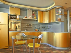 Bright kitchen in gold color