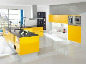 Large white kitchen with yellow furniture
