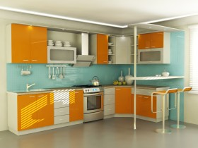 Bright interior with large kitchen
