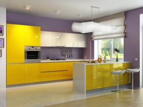 Yellow kitchen in style hi-tech