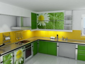 Green and white kitchen in daisies