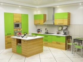 White kitchen with green wooden furniture