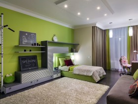 Bright and colorful kids room in green color