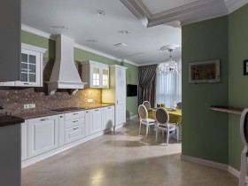Kitchen interior in green and white shades