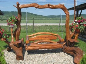Wooden swing made of wood