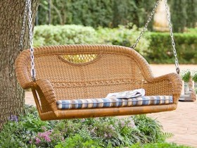 Wicker swings for several people