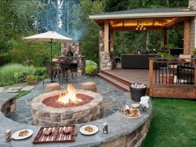 Relaxation area with gazebo, natural stone