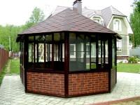 The stylish design of gazebo made of bricks