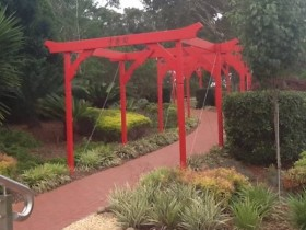 A long line of pergolas in a Chinese garden