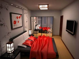 Bedroom in a modern Chinese style
