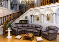 Classic living room with elements of the Romanesque style