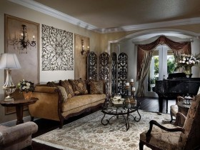 Classic style living room in dark colors