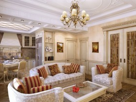 Вітальня поєднана класичного стилю