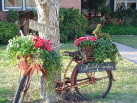 Beautiful garden flowerbed on the bike