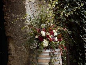 Beautiful flowerbed in a barrel