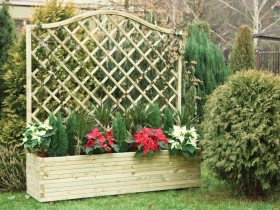 Wooden garden trellis with flowers