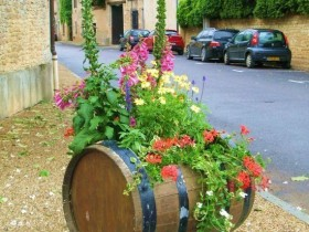 Flowerbed in a barrel