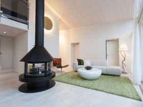 The design of the black fireplace in the modern style