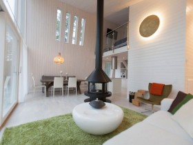 The Scandinavian style combined living room in the cottage
