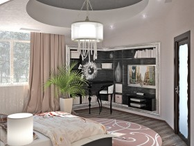 Large bright bedroom in the high-tech style with multi-level ceiling