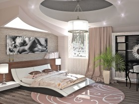 Bedroom interior in the style of hi-tech