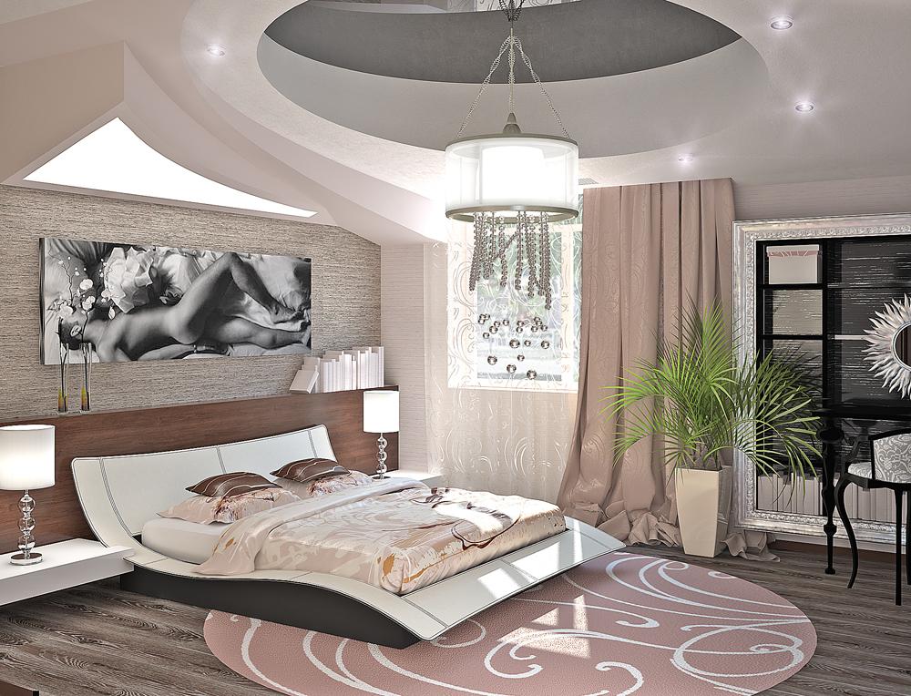 фото дизайн спальни в стиле хайтек
