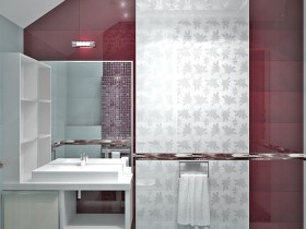 Bathroom in red and white tones