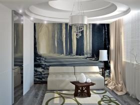 Современная гостиная с фотообоями и многоуровневым потолком