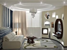 Современная гостиная с фотообоями и многоуровневым потолком (другой вид)