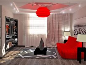 Красная люстра и диван в интерьере современной гостиной