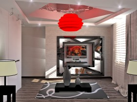 Modern interior of living room in the cottage