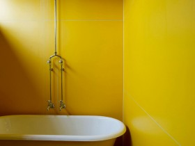 Bathroom interior in yellow