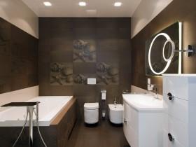 Dark brown bathroom in a marine style