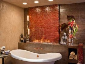 Bathroom with elements of Safari style