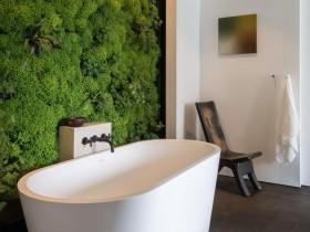 Дызайнерская ванная пакой з вертыкальным азеляненнем