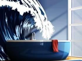 Современная ванная комната с элементами морского стиля