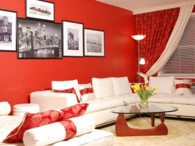 Red-white color living room