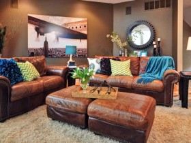 Beautiful leather furniture in the interior