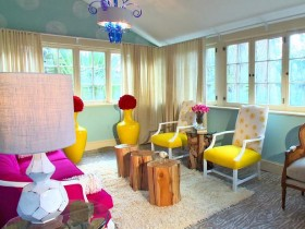 Bright living room in kitsch style