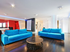 Modern living room in bright color
